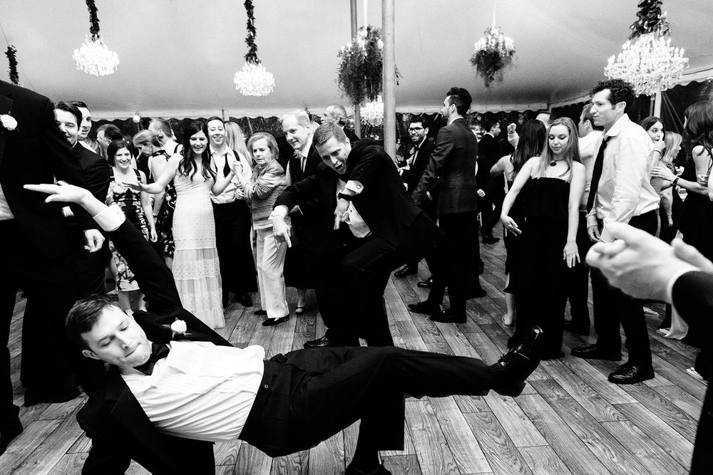 Wedding guests dance to music by Gold Coast All Stars at reception in Kohler, Wisconsin