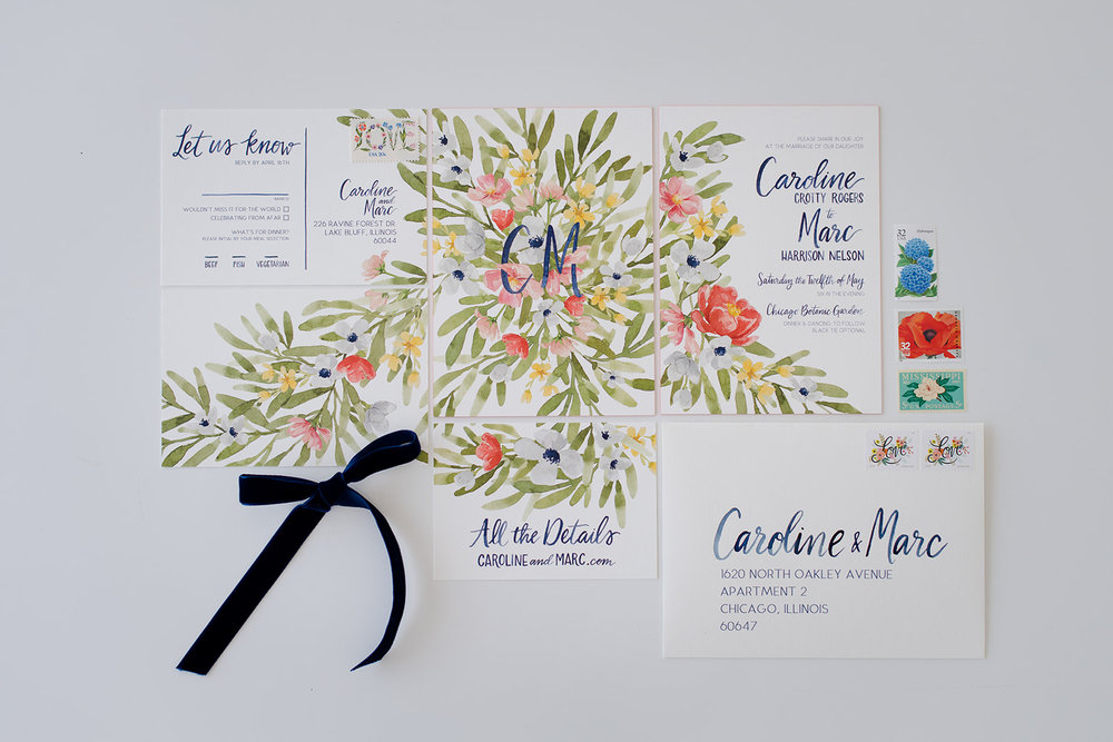 Invitation and paper suite for a spring floral wedding a the Chicago Botanic Garden