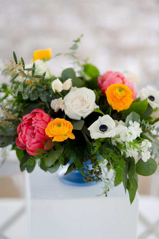 Ranunculus and peony springtime wedding bouquet with anemones for Chicago Botanic Gardens Wedding