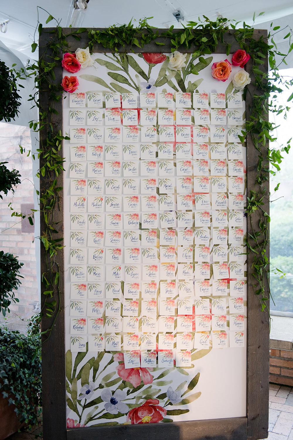 Hand painted floral wedding seating chart for tented rainy wedding at the Chicago Botanic Gardens