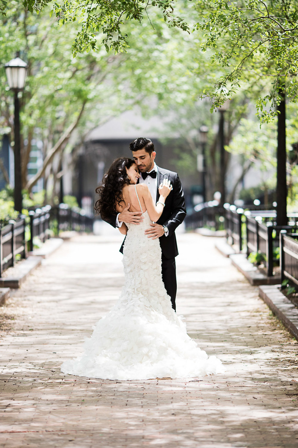 This photograph may look like a perfectly posed portrait but it happened purely organically as the bride and groom embraced after seeing each other for the first time on the morning of the wedding.