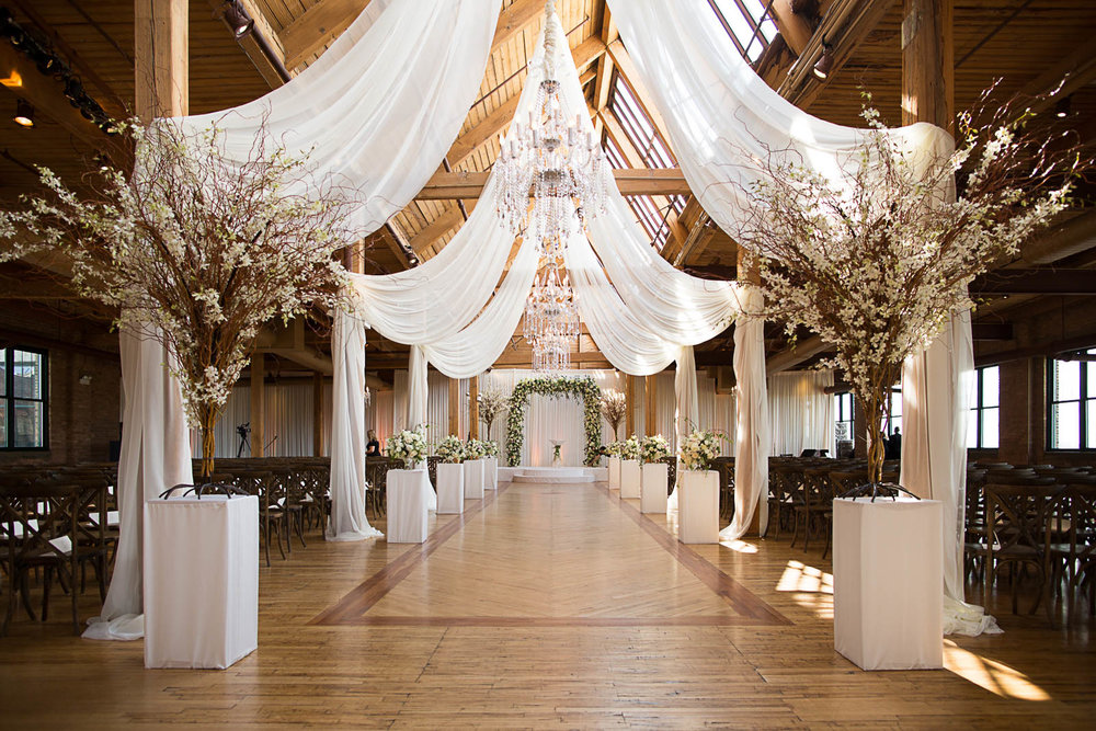 Stunning drapery and design by Yanni Design Studio and Wrap it Up Parties at Bridgeport Art Center