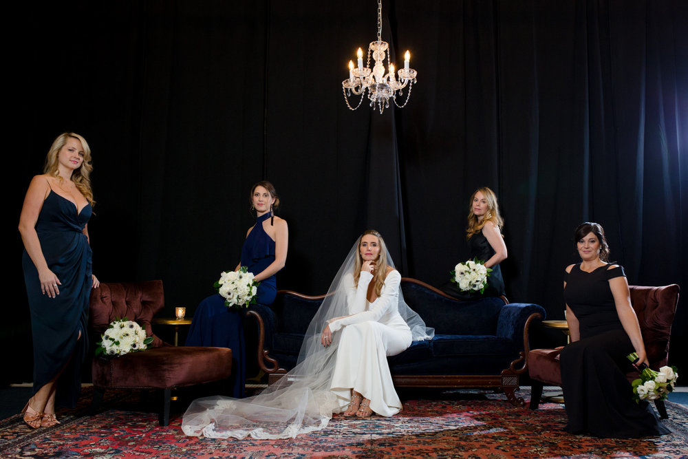 With the chilly weather, we headed back to the CAA fairly quickly to continue with editorial portraits. We made use of the beautiful vintage furniture decor vignettes by Chicago Vintage Weddings.