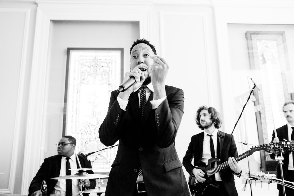 The Gold Coast All Stars perform during a wedding at the Chicago History Museum.