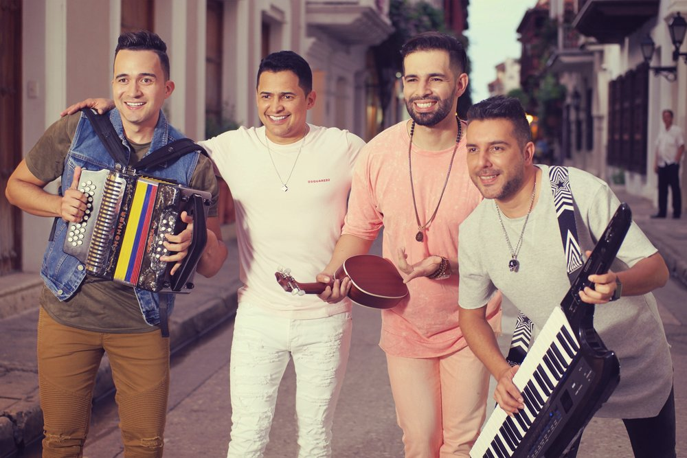 Checho, Celedon, Juanito y Lucho , durante el rodaje en Cartagena.