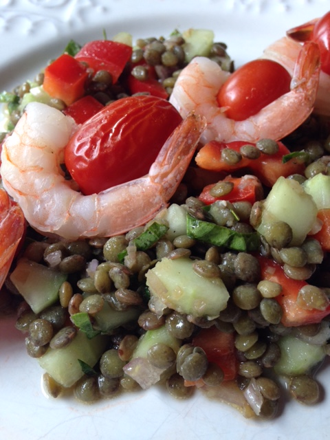 Grilled Shrimp & Tomato Skewers with Lentil Salad.JPG