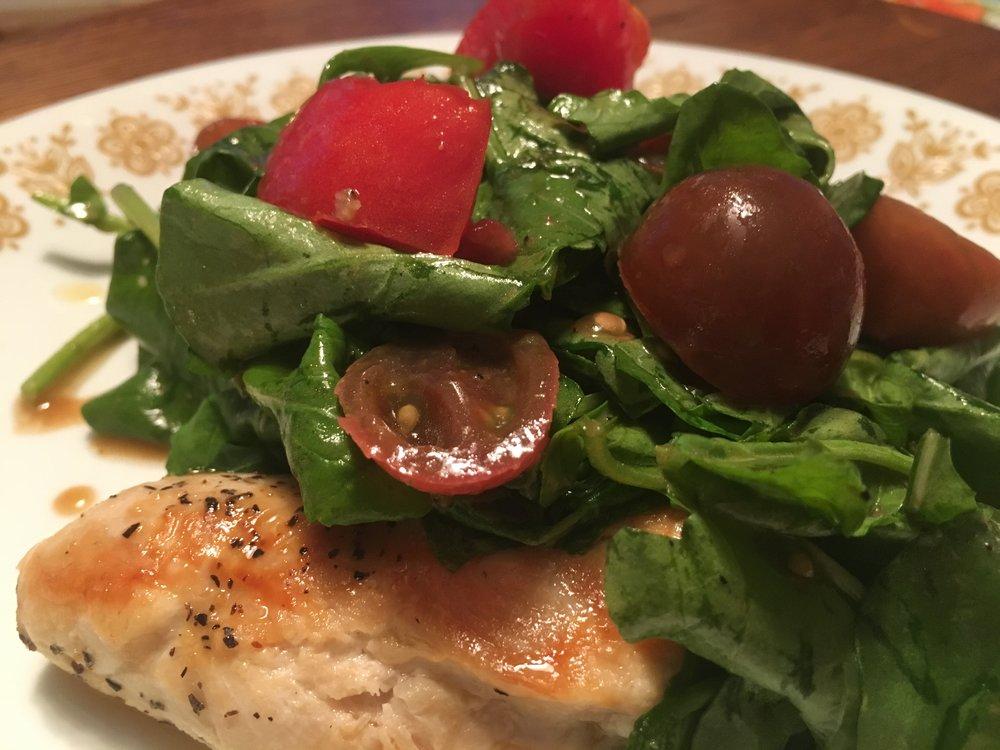 Chicken Paillard with Tomato-Arugula Salad.JPG