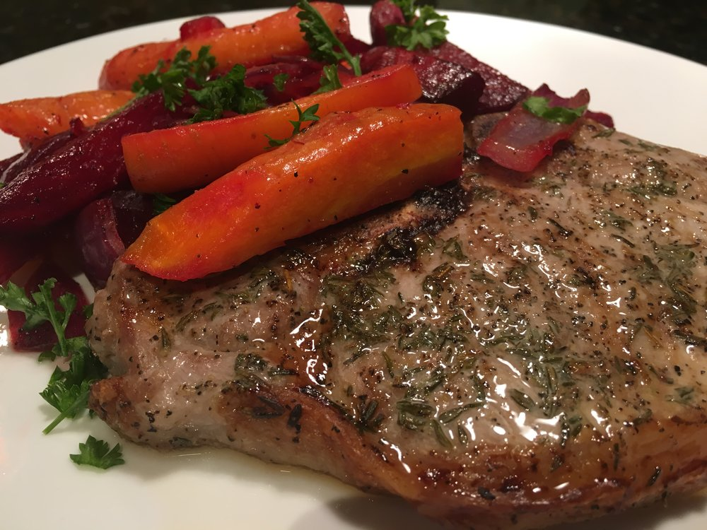 Grilled Pork Chops with Roasted Carrots and Beats.JPG