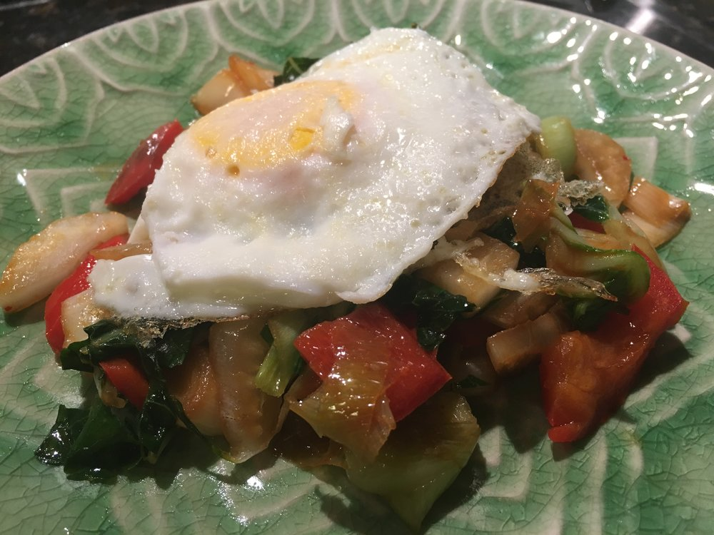 Asian Style Eggs and Greens.JPG