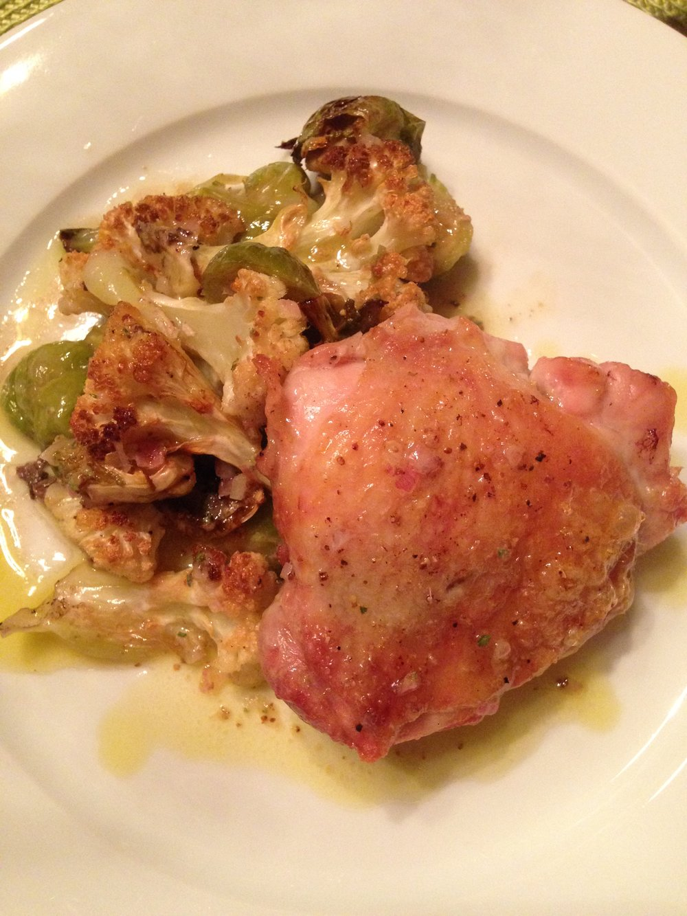 Sheet Pan Roasted Chicken thights%2c cauliflower%2c and brussel sprouts.JPG