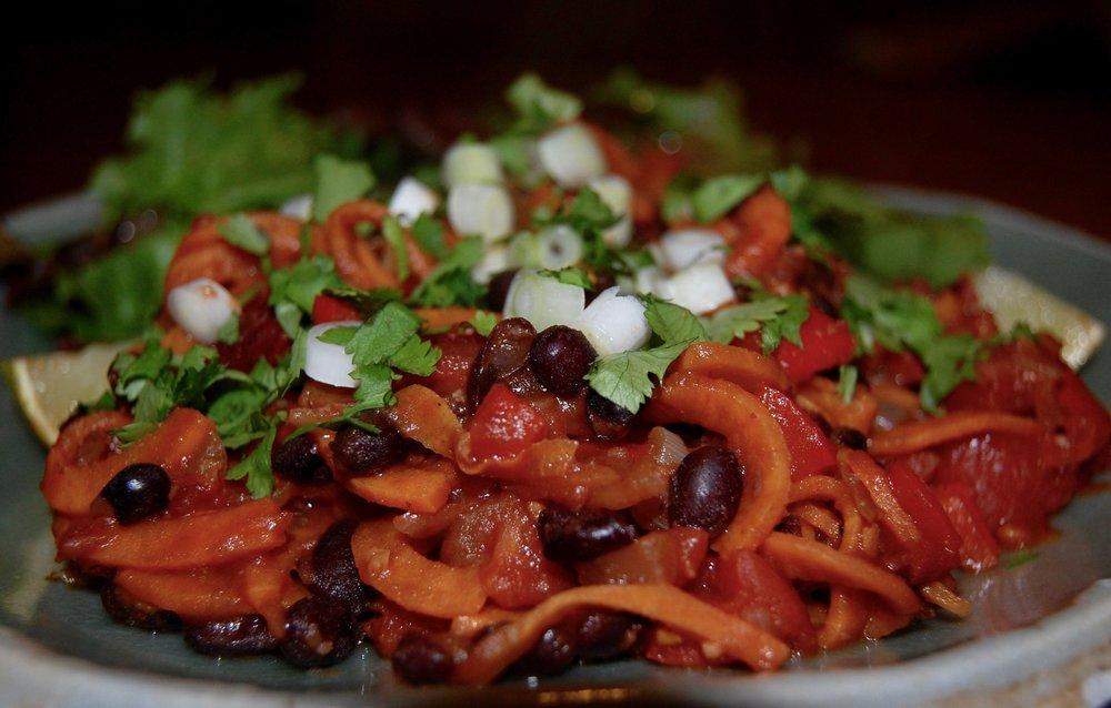 Tex-Mex Sweet Potato Pasta w Mixed Greens.JPG