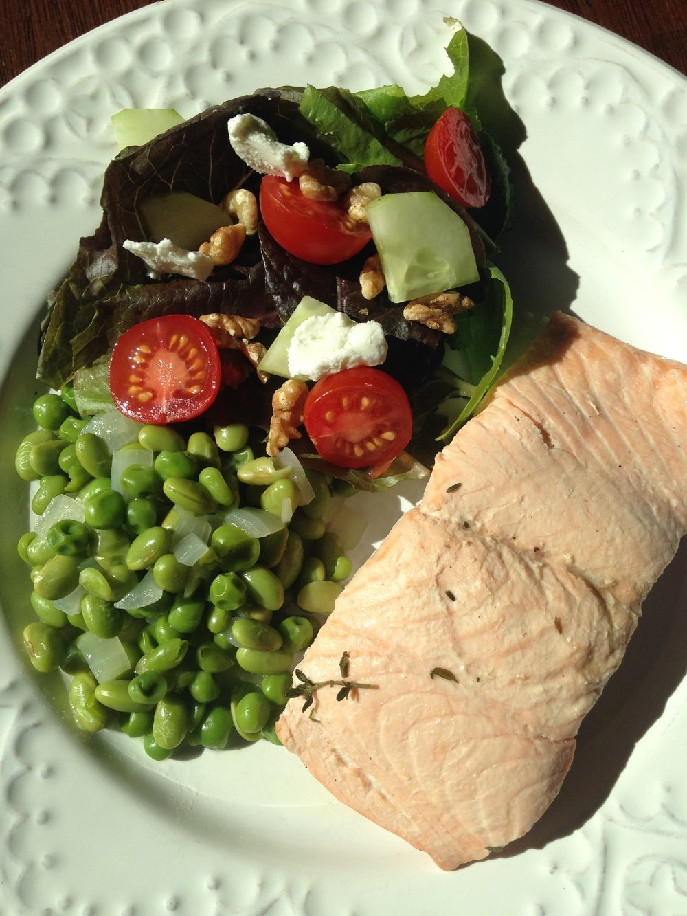 Poached Salmon w Peas & Onion.JPG