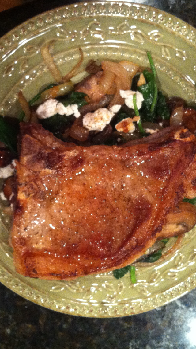 Pork Chops w Spinach%2c Mushrooms & Goat Cheese.PNG