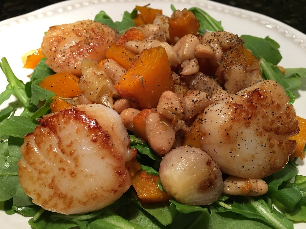 White Bean & Squash Salad w Scallops.JPG
