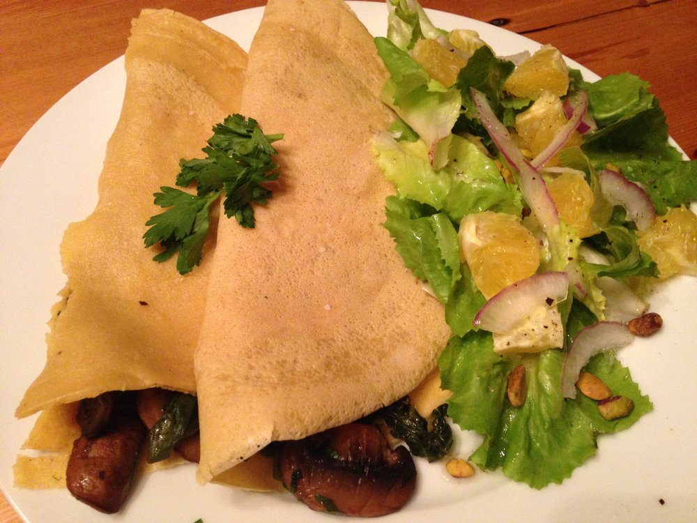 Mushroom & Spinach Crepes w Bitter Greens Salad.JPG