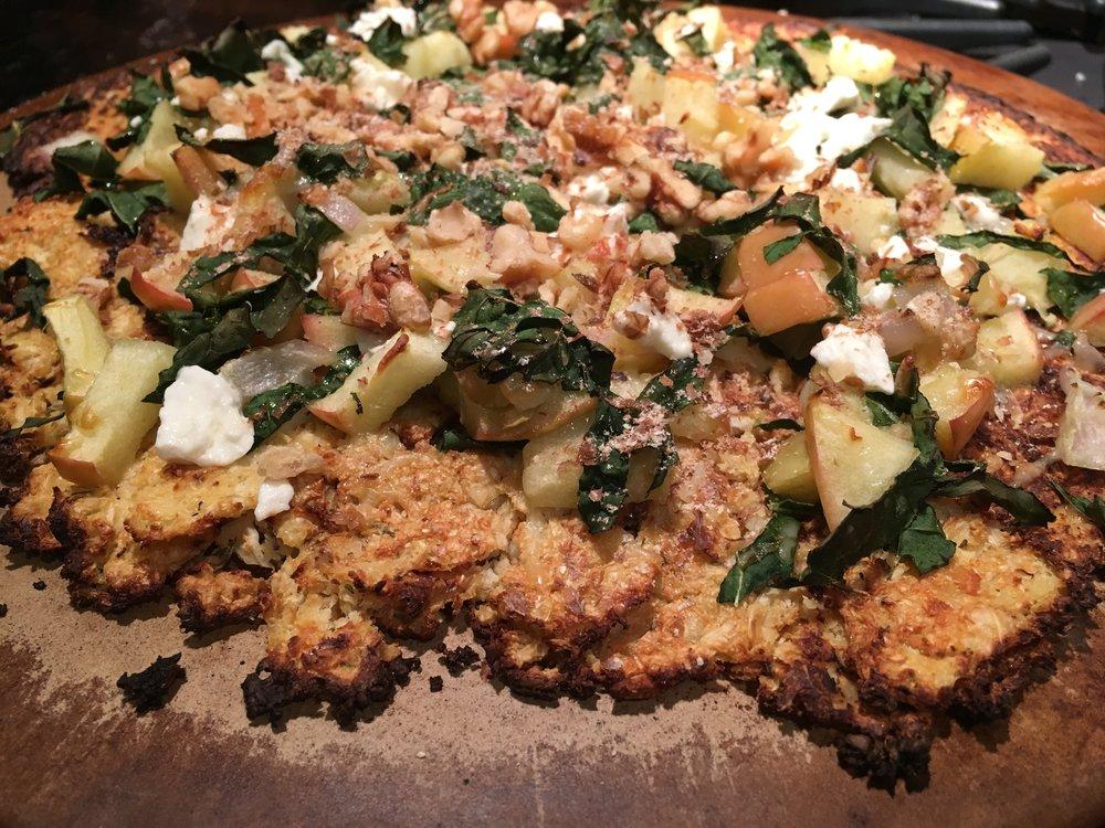 Pizza Night! Harvest Vegetable w Kale Salad.JPG