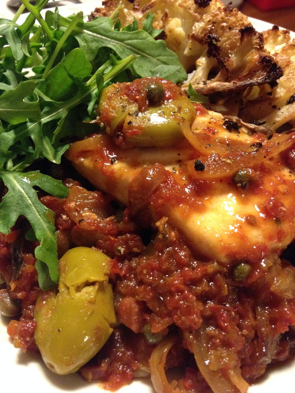 Braised Cod w Tomatoes Cauliflower & Arugula.JPG