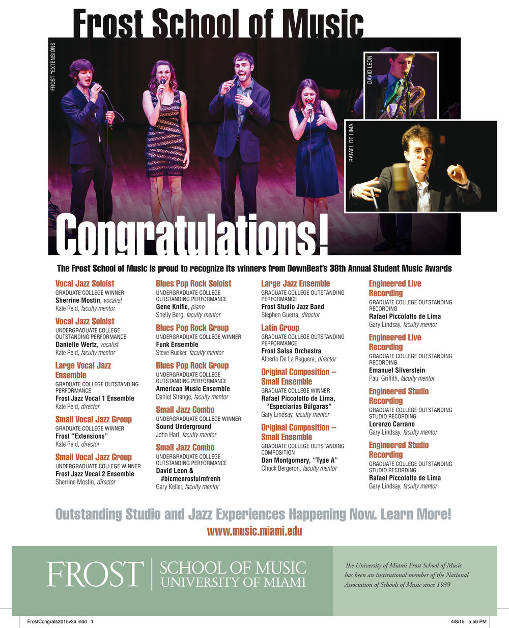 Downbeat Magazine, 2015.