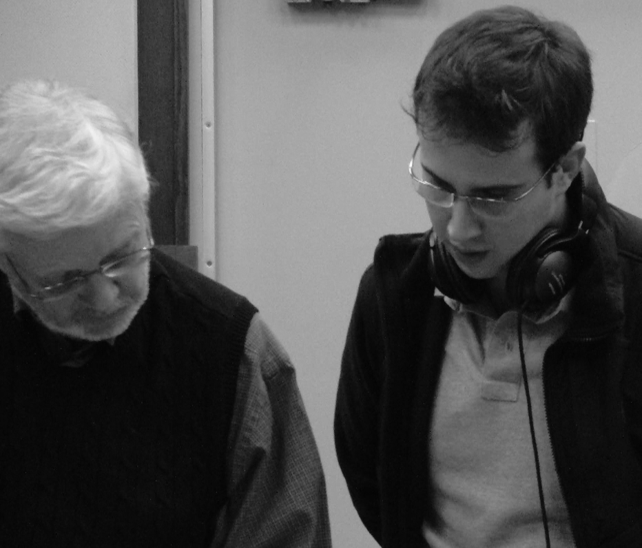 Rafael Piccolotto de Lima and mentor Gary Lindsay at a recording session. (University of Miami, 2013)