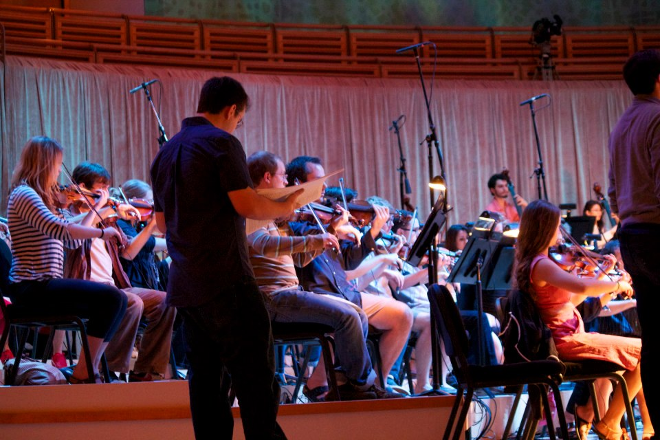 Rafael Piccolotto de Lima during rehearsal with the Henry Mancini Institute Orchestra at the Adrienne Arsht Center of Performing Arts, Miami 2013.