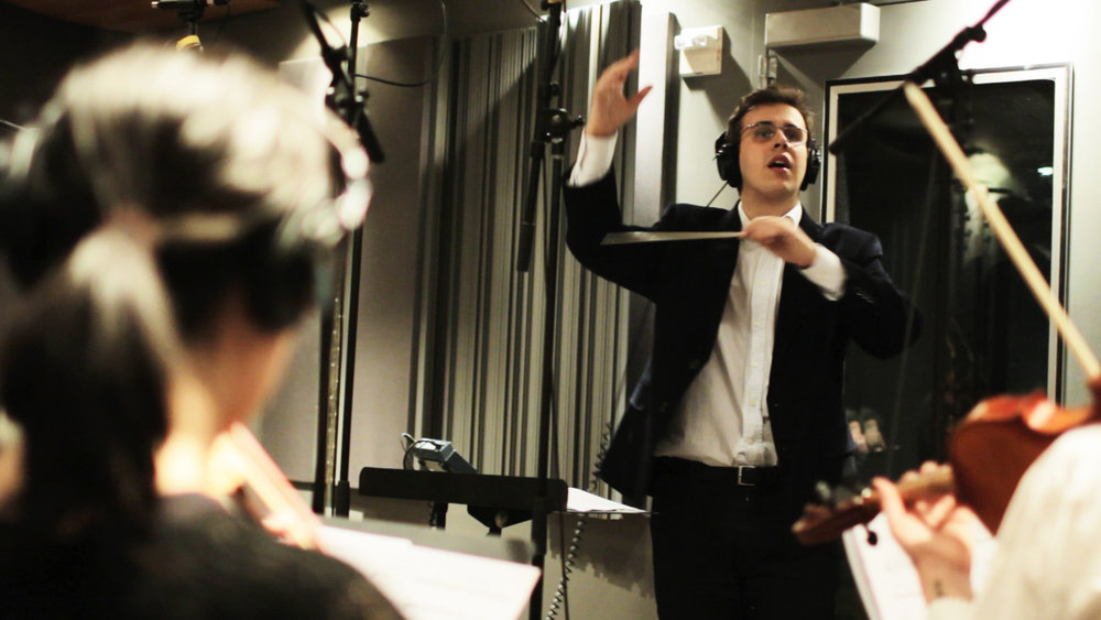Rafael Piccolotto de Lima conducting RPL Chamber Project at NYU recording studio. New York.