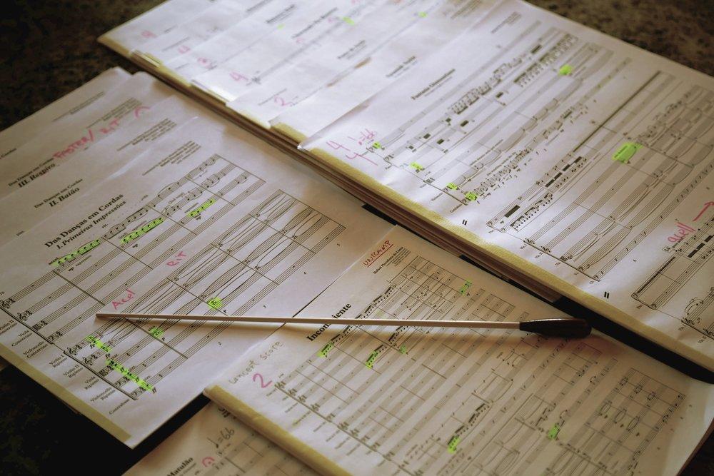 Scores for a concert with UNICAMP Symphony Orchestra (Campinas, São Paulo, Brazil)