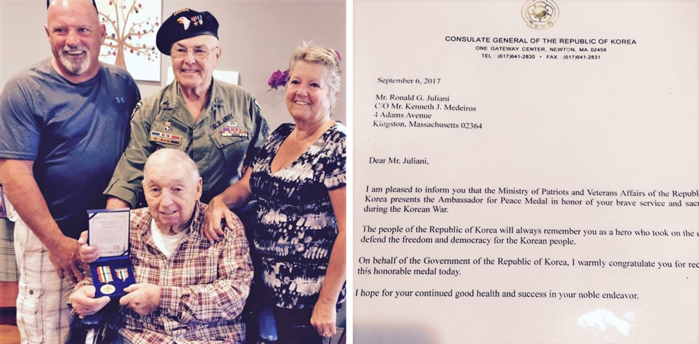"Ronald ""Chippy"" Juliani with his Ambassador for Peace Medal from the Korean Ministry of Patriots and Veterans Affairs. Chippy is pictured with his daughter and son-in-law, Ken and   Debbie Juliani Medeiros   and his son Joe Juliani."