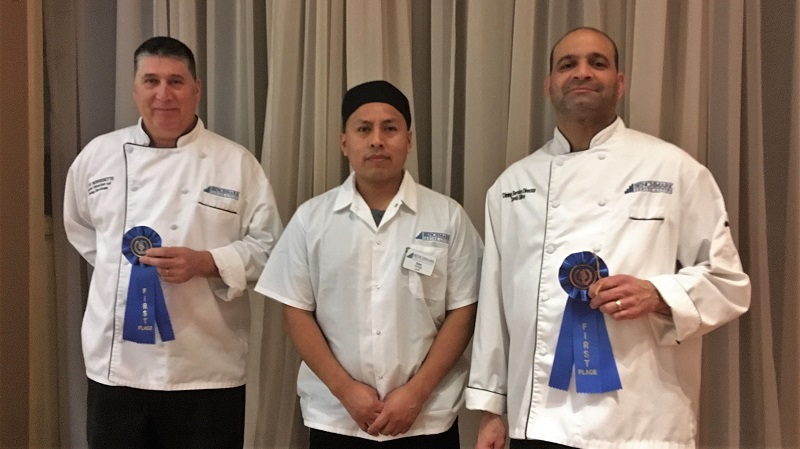 Benchmark chefs took top award for fifth year: From left, Senior Dining Services Director Steve Morissette, Greenwich Farms of Warwick; Dan Ortega, cook at Capitol Ridge at Providence; and Dining Services Director David Silva, Capitol Ridge at Providence.