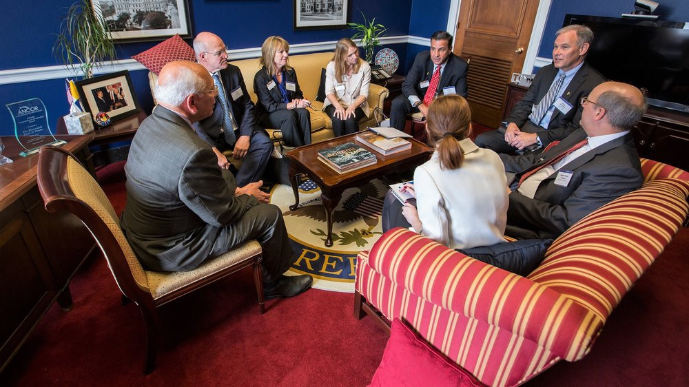 Vice President and Deputy General Counsel  Brian Danaher  (far right) and other Argentum members with communities in New York met with U.S. House Representative Paul Tonko (far left) in his Capitol Hill office. The meeting was part of the 2016 Argentum Public Policy Institute & Fly-In where members convened to advocate on senior living issues and stay current on legislative trends.