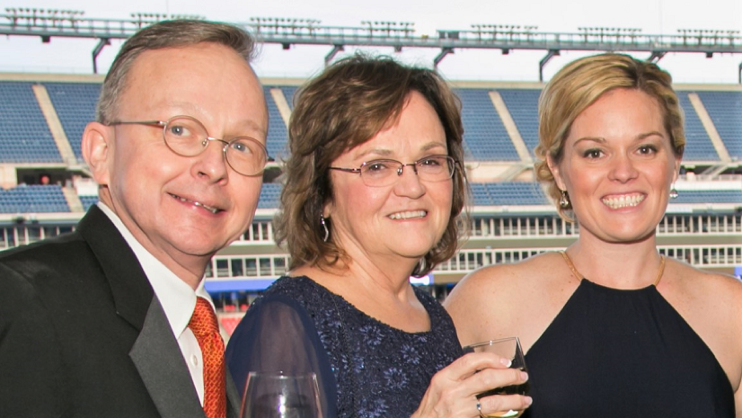 At her last annual awards gala in 2017, Fran, center, with Executive Director of The Birches at Concord  Charles Crush  and Director of Quality Resident Services  Noelle Gill .