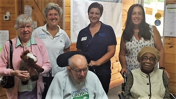 From left, Marie, Manes & Motions Program Coordinator Jeanna Pellino, Resident Care Assistant Kelly Harbor, Harbor Program Coordinator Jennifer Felciano, Edward and Lone.