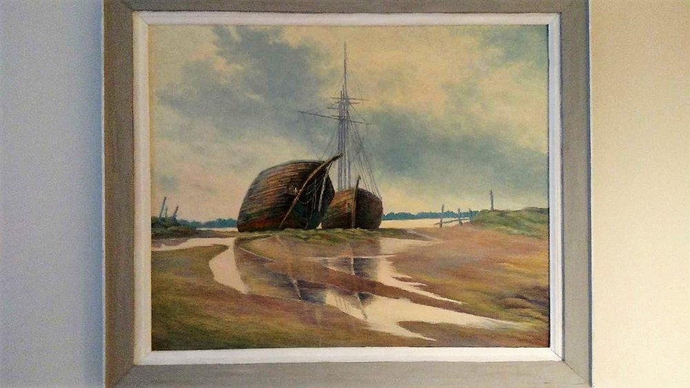 Ken's favorite painting depicts abandoned ships that once carried coal from Providence to Newport, R.I.