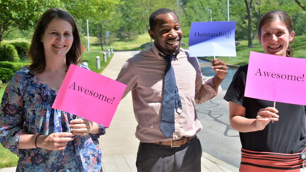 Members of the home office Walking Club celebrate the recognition of our healthy workplace.From left:  Emily Atkins , Associate Experience Specialist;  Javon James , Fixed Asset Coordinator; and  Jessica Trunfio , HR Administrative Assistant.