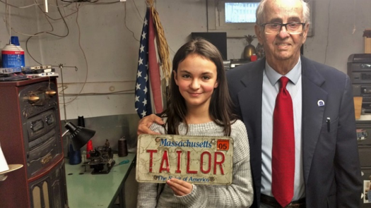 The tailor with granddaughter Lea, his son, Frank's, oldest daughter.