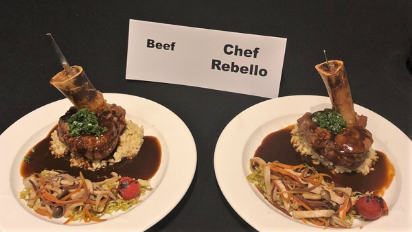 Chef Rebello's winning dish: Frenched Veal Shank (Osso Buco) with Glace de Veau and Creamy Risotto garnished with a Wild Mushroom Mélange