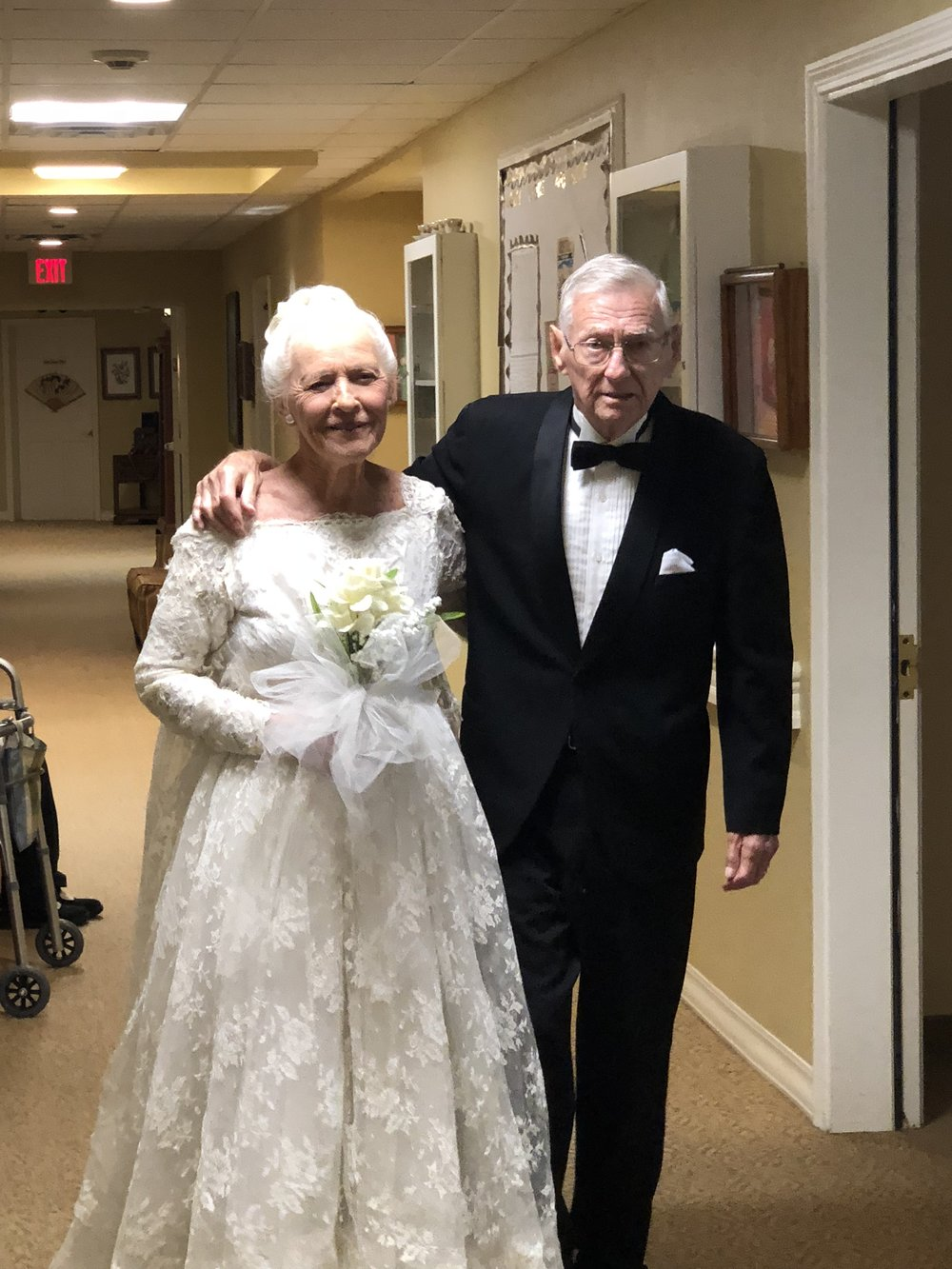 Charlie's bride in the same wedding dress she wore 60 years ago.