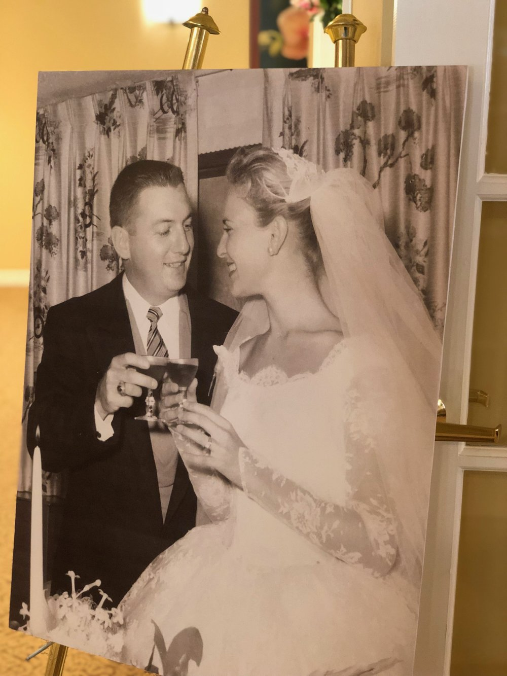 On display was a large photo of the bride and groom on Sept. 6, 1958.