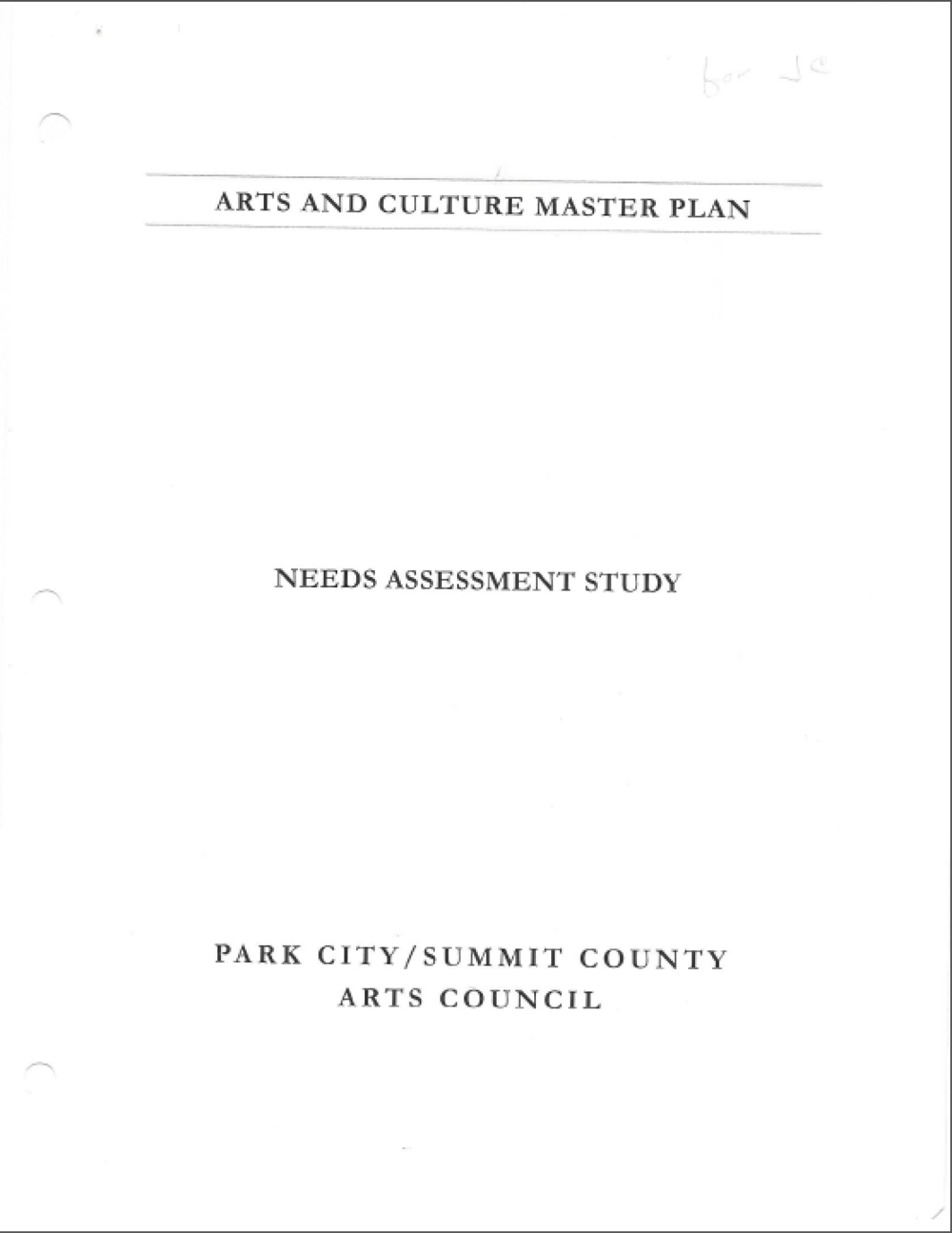 1999 PCSC Arts and Culture Master Plan