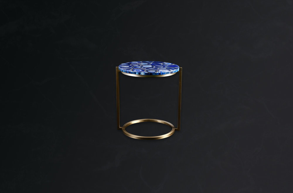 Round Side Table in Gem Blue Agate