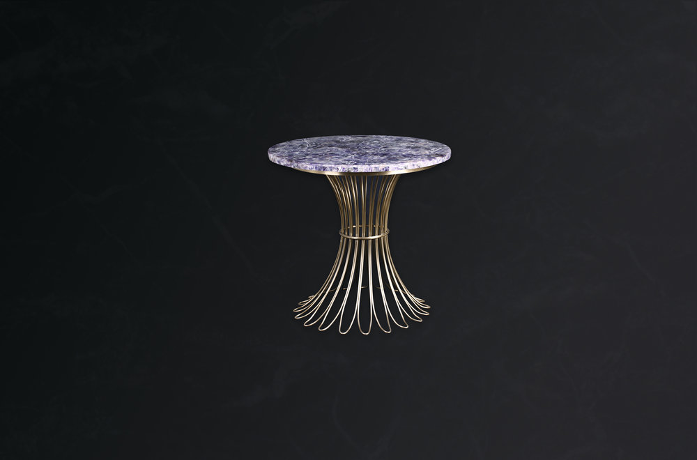 Round Side Table in Gem Amethyst