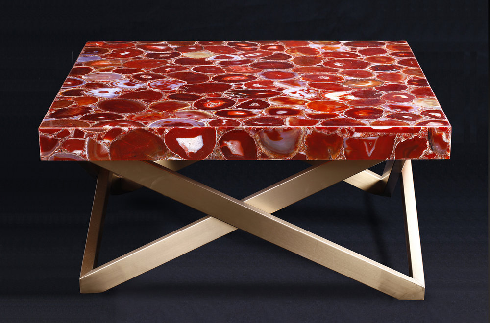 Square Central Coffee Table In Red Agate