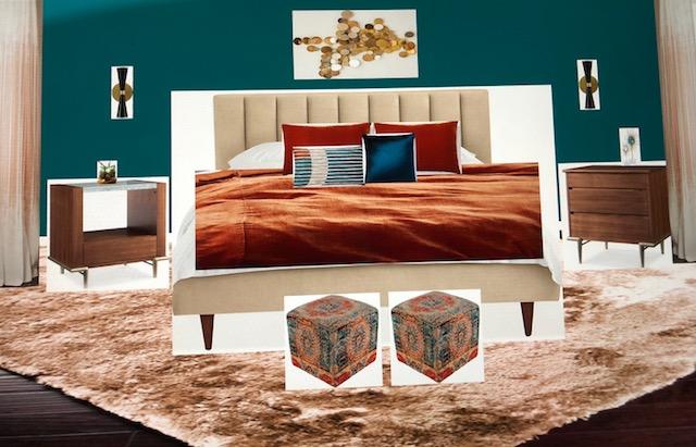 Teal & Rust Bedroom.