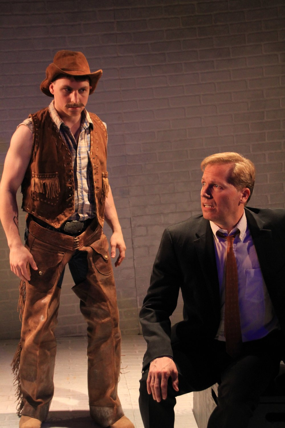 MFA in Acting candidate Bryce Crumlish (l.) with Company Member David Arrow (r.)  in a production of  Sam's Lament  by Company Member Robert Wray, directed by Company Member Sal Trapani, at The Playroom Theatre, June 2017.
