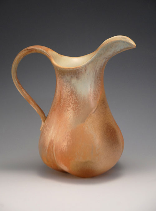 With luck, the next pitcher with these glazes will have a broader sweep of the pastel, crystal-covered drape.