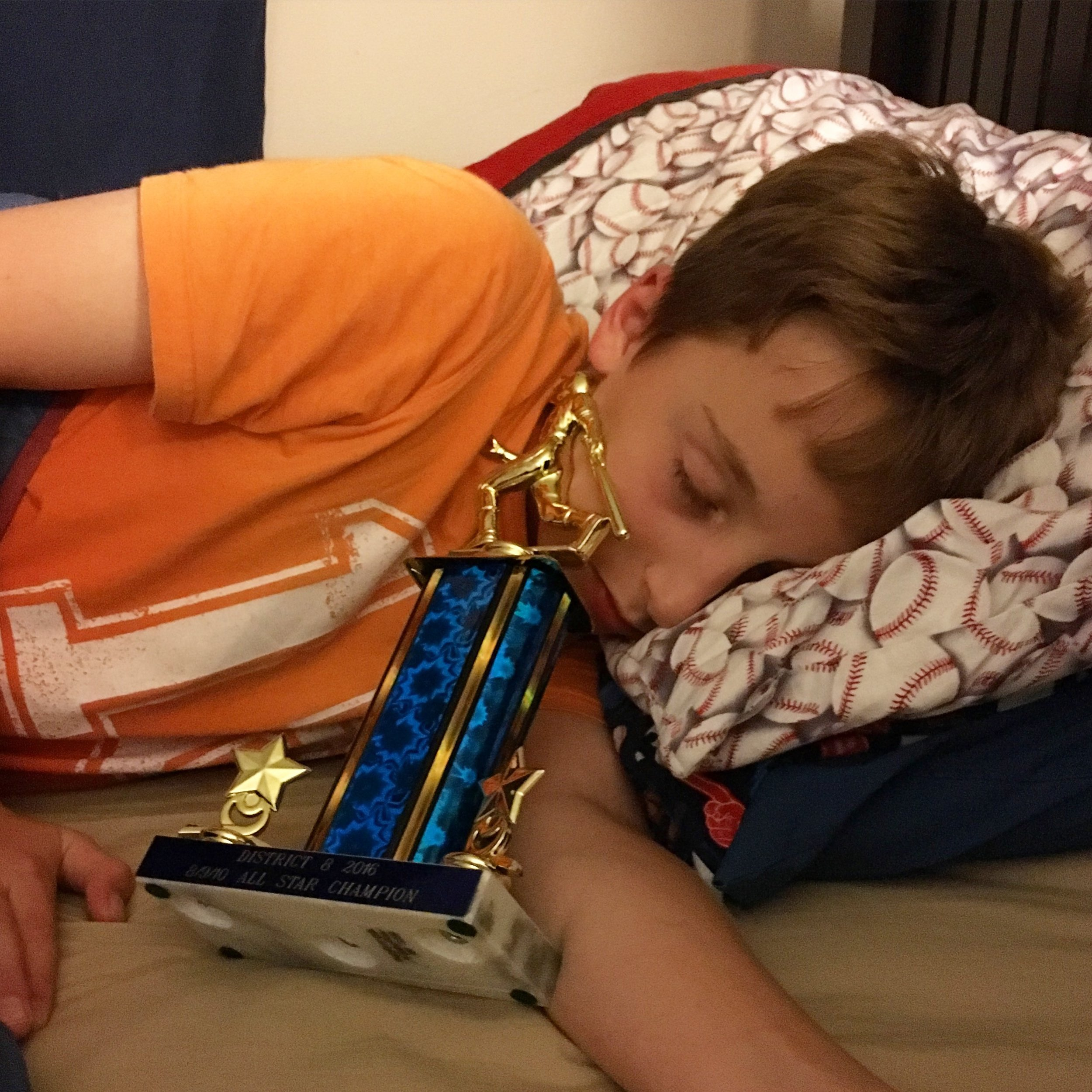 Pitched the District 8 Championship game and slept with the trophy.