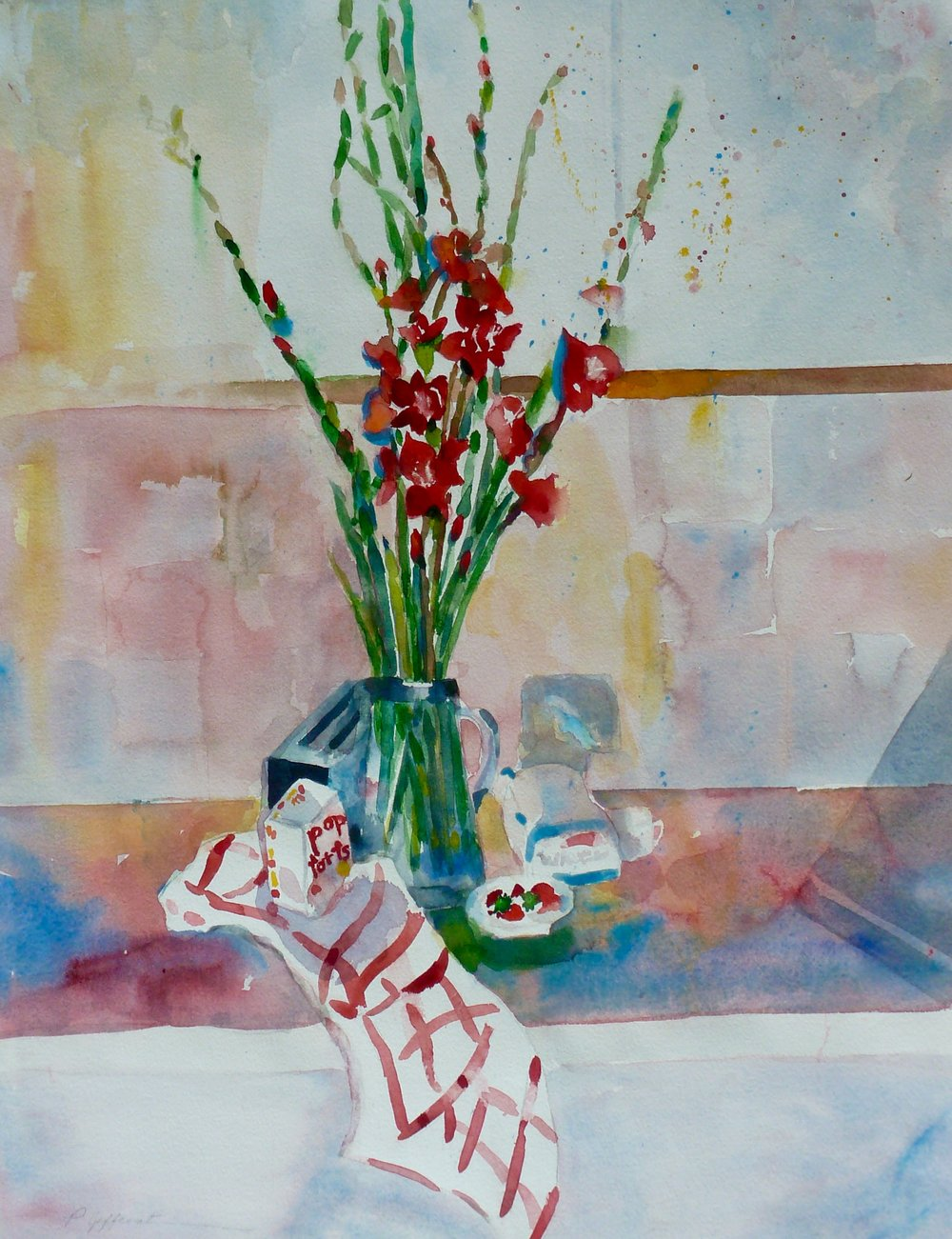 Still Life / In the Kitchen  Watercolor  Framed 20wx16h  $250