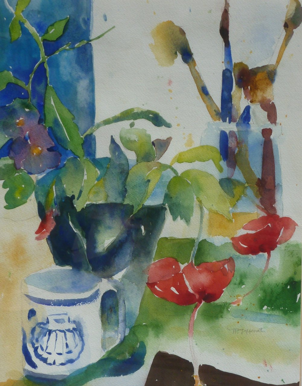 In the Artist's Studio  Watercolor  20hx16w  framed  $300