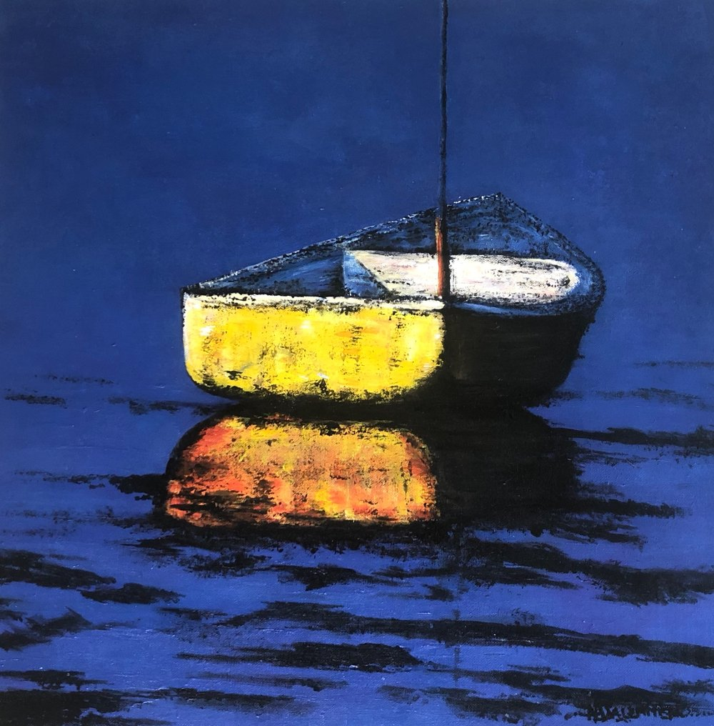 """The Lone Boat""    20x20    Acrylic    $500"