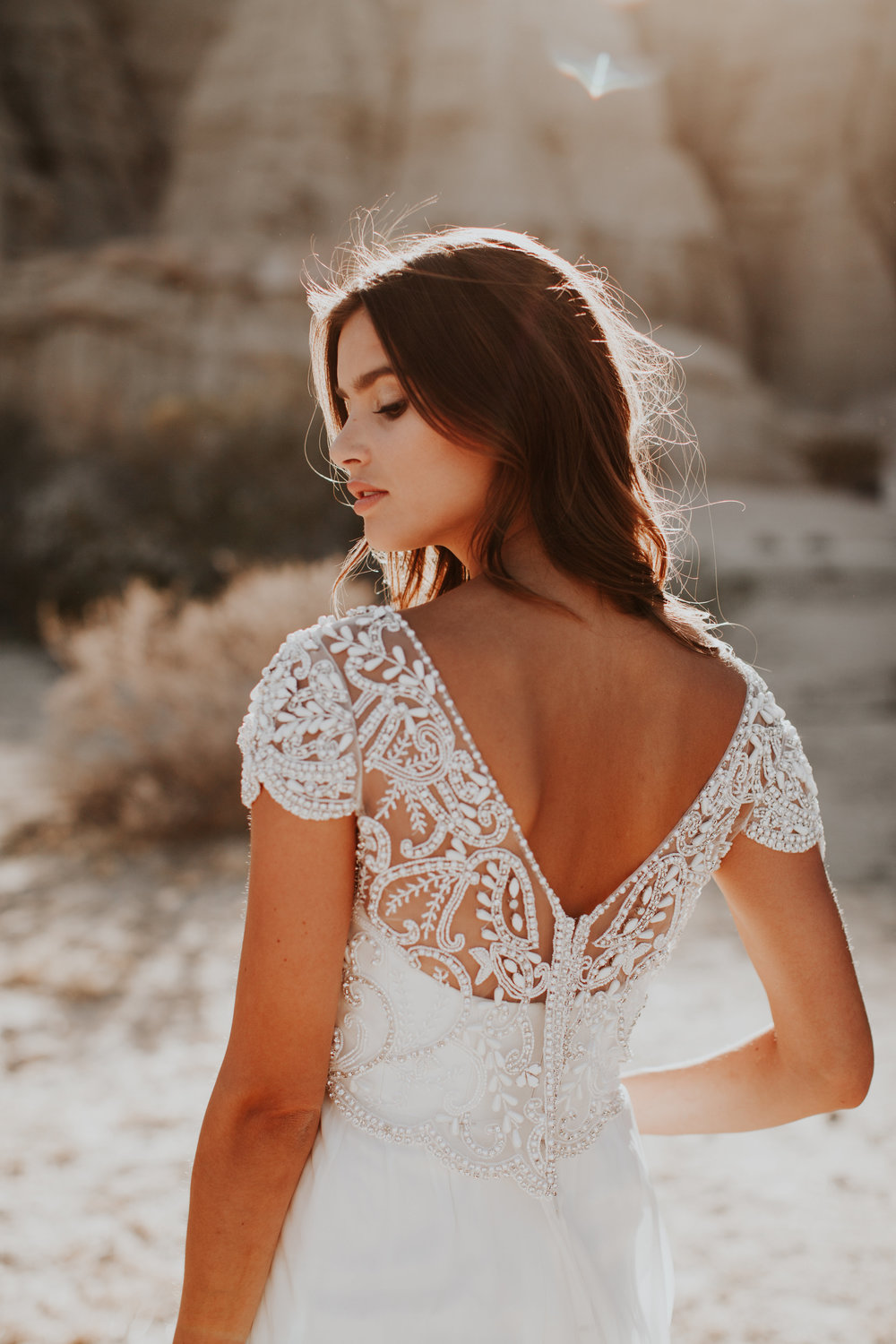 Anna Campbell Anna Dress | Vintage-inspired embellished beaded wedding dress with low back detail and capped sleeves