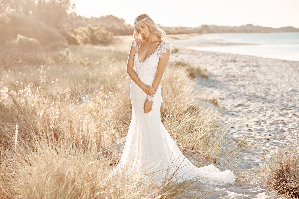 Anna Campbell Ruby Dress   Vintage-inspired hand-beaded wedding dress
